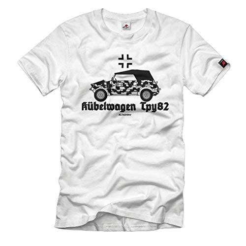Copytec Kübelwagen Typ82 Kübel kdf Moteur boîte de Vitesses à Glissement limité essieu différentiel T-Shirt # 33095, Taille:Hommes M, Couleur:Blanc