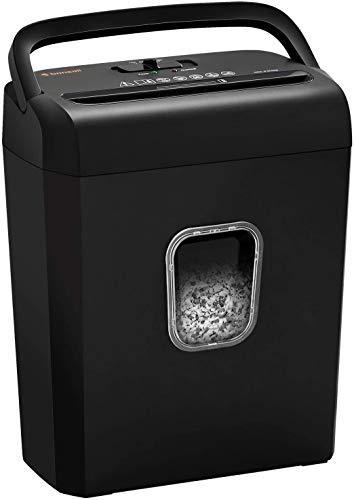 Bonsaii Aktenvernichter Partikelschnitt Schredder 6-Blatt für Kreditkarten und Heftklammern Sicherheitsstufe P-4 für den Heimgebrauch kleines Büro mit 13 Liter Papierkorb, Schwarz (C223-A)