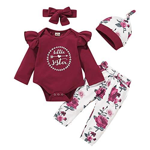 Jurebecia Conjuntos Bebe Niña Ropa Recien Nacido niña con Capucha Floral Sudadera Tops + Pantalones Ropa Trajes de Diadema
