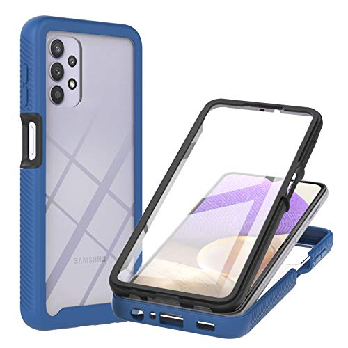 GOKEN Hülle für Samsung Galaxy A32 5G, [Integriertem Bildschirmschutz ] 360° Stoßfest Handyhülle, Transparent Hülle Soft TPU Bumper Schutzhülle Cover, Blau