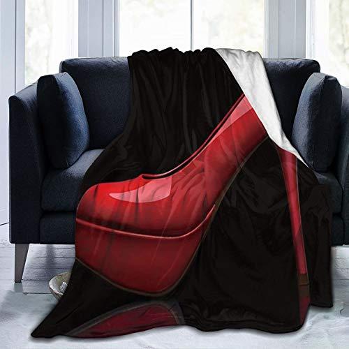 DAOPUDA Manta De Tiro De Lana Suave,Sex Women Shoes Red Tacones Altos en diseño Negro,Home Hotel Sofá Cama Sofá Mantas para Parejas Niños Adultos,120x150cm