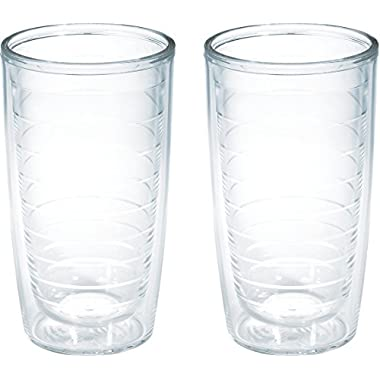 Tervis 1001831 Clear & Colorful Insulated Tumbler 2 Pack - Boxed 16oz, Clear