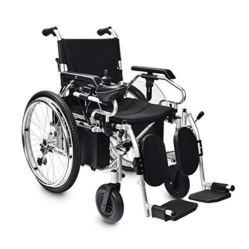 Electric wheelchair Silla de Ruedas Ligera y fácil de Usar con Control de Palanca Universal de 360 °, reposabrazos Ajustable y reposapiés elevables para Mayor Comodidad, Negro