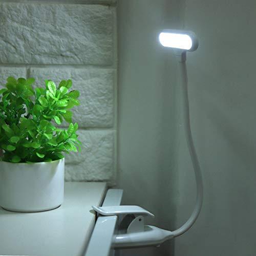 DAUERHAFT Clip de luz de Lectura Clip de Cuello Flexible de 360 Grados en la lámpara de Lectura, para Leer(White)