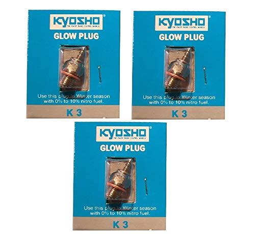 Promohobby Set 3 Unidades bujia Kyosho K3 Glow Plug RC-Nitro Motor de Explosion