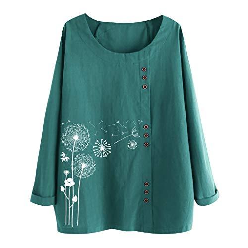 VEMOW Camiseta De Las Mujeres T-Shirt Casual Cuello Redondo Botón Flojo Talla Extra Gato Impresión Mangas largas Boho Tánico Camisa Blusa Tops TúNica(C Verde,L)
