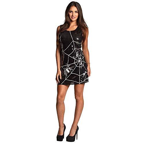 Boland 87147 - sukienka z cekinami pająk, rozmiar M, czarna