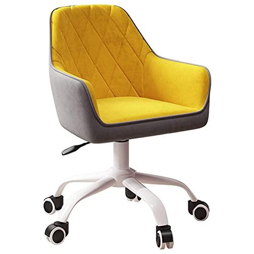 Silla de escritorio con ruedas Silla de oficina en casa de terciopelo amarillo Silla de escritorio ergonómica Silla ejecutiva Silla ajustable para computadora con brazos y respaldo Silla giratoria 360