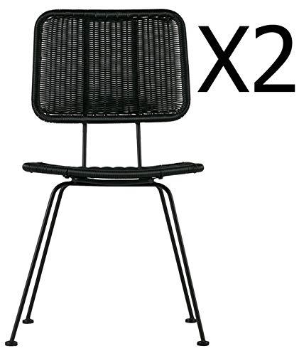 PEGANE Lot de 2 chaises de Jardin en métal Coloris Noir - Dim : H 87 x L 47 x P 65 cm