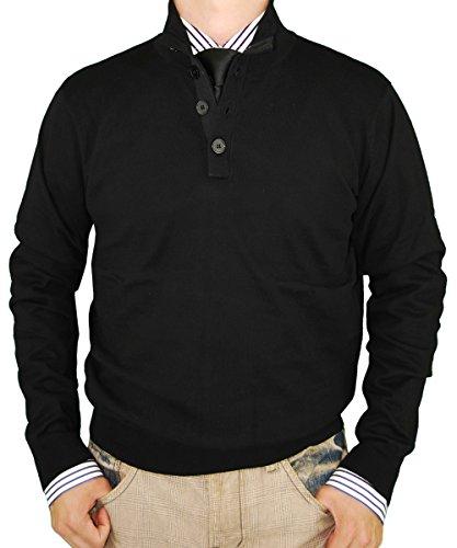 Luciano Natazzi Mens Sweater Classic Quarter Button Mock Neck Pullover Cotton (Small, Black)