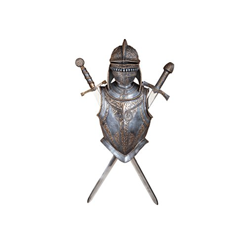 Design Toscano Nunsmere Hall 16th Century Battle Armor Medieval Wall Sculpture with Removable Display Swords, 32 Inch, Polyresin and Metal, Pewter