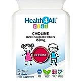 Kids Choline 150mg 60 Tablets Lemon Flavoured Vegan Tablets for Children. Made in UK by Health4All