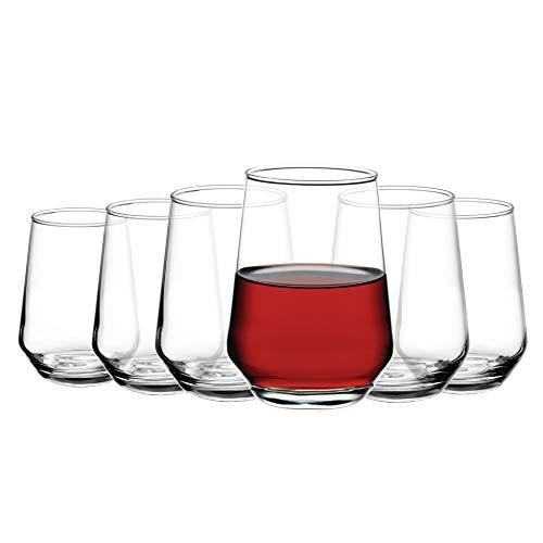 Amisglass Copas de Vino 6 Piezas, Vasos de Champán sin Plomo, Copas de Espumoso de Flauta sin Tallo, Vaso Vidrio Claridad para Bebidas, Cóctel, Ideal de Amante de Vino, Bar, Fiesta - 410 ml