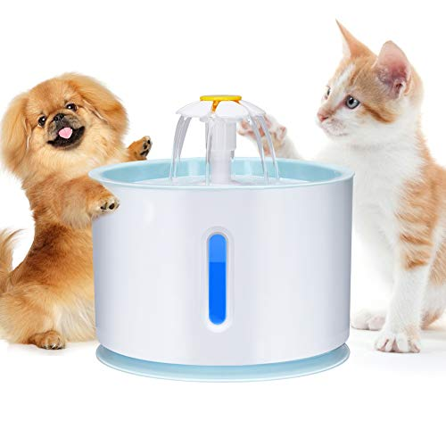 Haofy Fuente de Gatos Automático Fuente de Agua Gatos y Perros de Gran Capacidad 2.4L con Bomba Súper Silenciosa Bebederos Mascotas, Fuente Bebedero para Gatos
