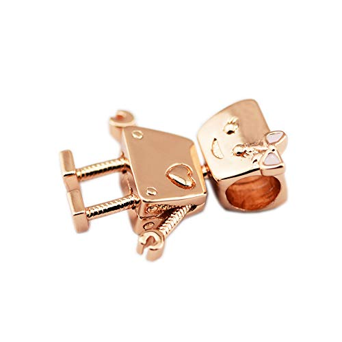 PANDOCCI 2018 - Cuentas de plata de ley 925 con esmalte de oro rosa para pulseras Pandora