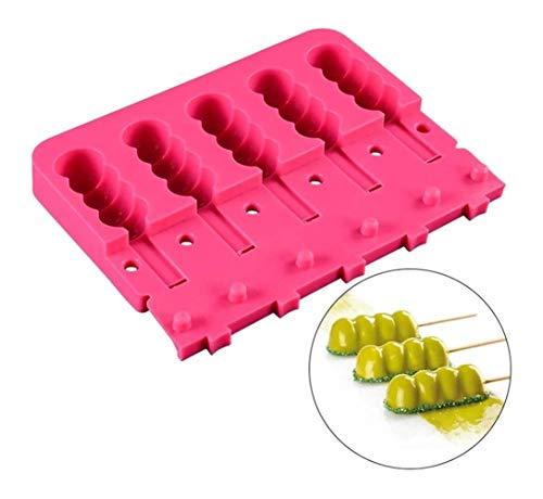 5 Gaten Silicone Popsicle Molds Met Stokken Ice Tray Cube Gereedschap Frozen Ijslollie Make Pop Ijs Vormen Home Made Ice Cream Mold For De Zomer Kitchen Tools Ice Cream Vormen
