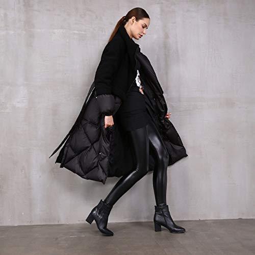 ADGSSJ Winter oversized warm fluffy down coat female over the knee longer catwalk sheep fur stitching duck down jacket,Black,XXL