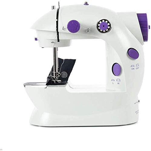Mini Sewing Machine Upgraded Portable Two Threads Double Speed Double Switches Household Kids Beginners Travel Automatic Sewing Machine (White) (Renewed)