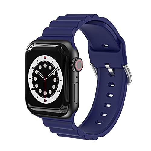AISPORTS Compatible con Apple Watch Correa 40mm 38mm de Silicona para Mujeres y Hombres,Pulsera Deportiva Informal de Negocios Suave Correa de Repuesto para Apple Watch SE/iWatch Series 6/5/4/3/2/1