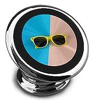 最小限のメガネピンクブルーイエロー 携帯電話ホルダー スマートフォン ブラケット 車 磁石 車 ナビゲーション ブラケッ 360度 スピン ロードとアンロードが簡単 iphone/android/複数モデル互換