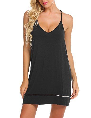 Ekouaer Womens V Neck Sleeveless Chemise Nightgown Sleepwear Full Slip Night Dress Black 1 Medium