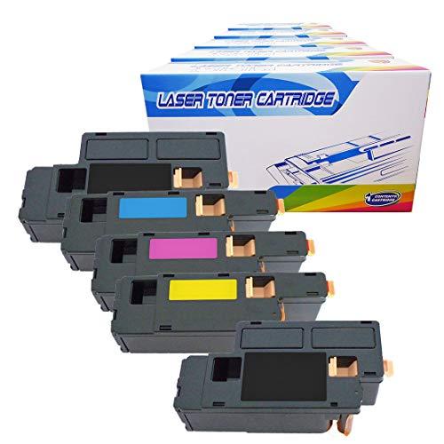 Inktoneram Compatible Toner Cartridges Replacement for Dell 1250c 1350cnw 1355cn 1355cnw C1760nw C1765nf C1765nfw ([2-Black,Cyan,Magenta,Yellow], 5-Pack)