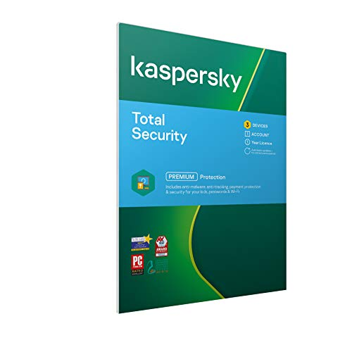 Kaspersky Total Security 2021 | 3 Devices | 1 Year | Antivirus, Secure VPN and Password Manager Included | PC/Mac/Android | Activation Code by Post