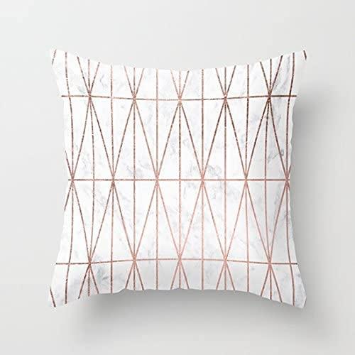 BONRI Funda de cojín cuadrada de algodón con diseño de triángulos geométricos modernos en oro rosa sobre mármol blanco (no dorada, solo imprime la funda de almohada), 50,8 x 50,8 cm