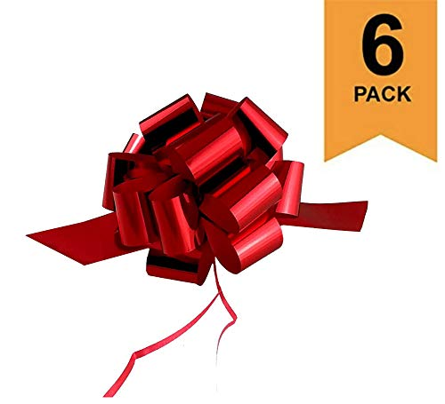 """Large Metallic Red Christmas, Valentines Gift Wrap Pull Bows - 5"""" Wide, Red Ribbon Big Pull Flower Bows for X-mas Gifts and Presents, Set of 6"""