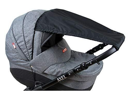 BABYLUX Sonnenschutz UV Rollo Schütz SONNENSEGEL Sonnendach für Kinderwagen Buggy (Schwarz)