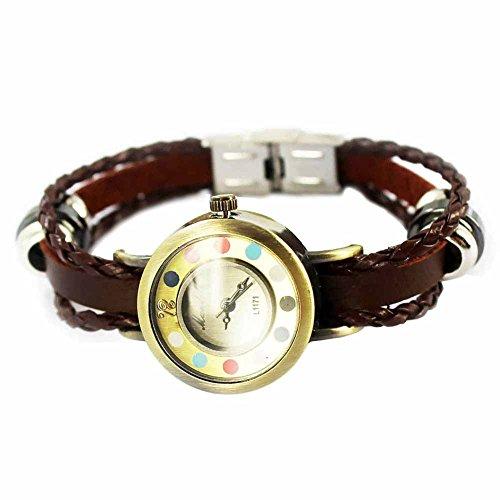 Mes-Bijoux-Bracelets Reloj de Pulsera Redondo Cuero Joya Reloj Mujer No Hay Números...