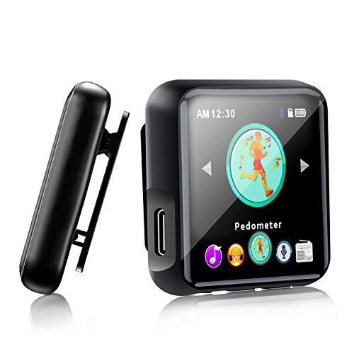 Lettore MP3 Bluetooth 4.2, 16 GB MP3 lettore de Full Touch Schermo con Clip, Lettori MP3 Portatile Orologio Running con Registratore Vocale, Radio FM - Espandibile fino a 128GB (Black)