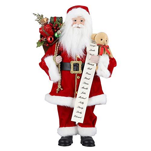 Kranich 18 Pollici Figura di Babbo Natale Statuetta Jim Shore Babbo Natale Grande Figura Natalizia in Piedi Padre Tradizionale Deluxe con Sacco Regalo Decorazione per Feste/casa (M)