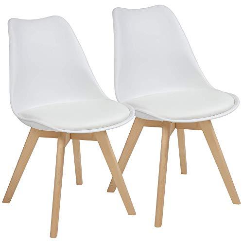 Albatros Esszimmerstühle AARHUS 2-er Set, Weiss mit Beinen aus Massiv-Holz, Buche, skandinavisches Retro-Design