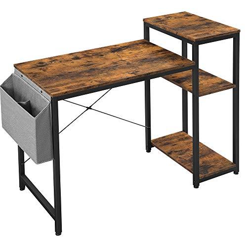 VASAGLE Schreibtisch, Computertisch mit Regal, verstellbare Ablage, mit Seitentasche, 110 x 50 x 90 cm, Industrie-Design, vintagebraun-schwarz LWD087B01