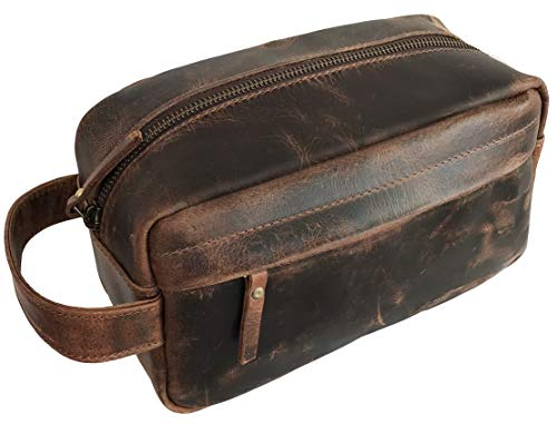 Genuine Buffalo Leather Unisex Toiletry Bag | Travel Dopp Kit | Leather Toiletry for Women | Dopp Kit for Men | Men Toiletry Bag | Women Travel Bag