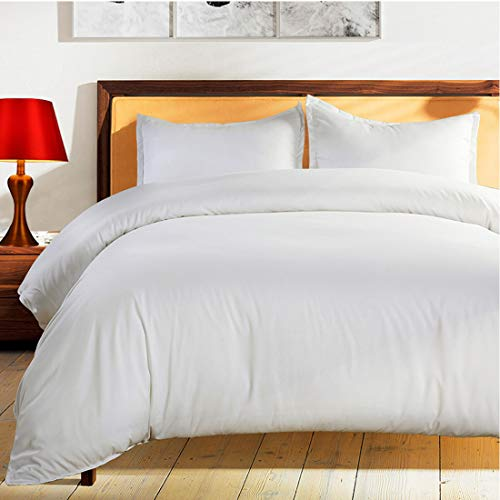 Duvet Cover Set Queen Size White Premium with Zipper Closure Hotel Quality Wrinkle and Fade Resistant Ultra Soft -3 Piece-1 Microfiber Duvet Cover Matching 2 Pillow Shams