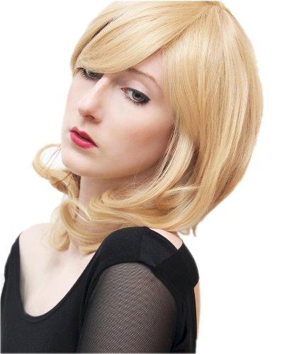 Prettyland Perruque Blond Clair Mi-Longue Moyenne Franges Légèrement Ondulé Retro Comme Vrais Cheveux Manga C807