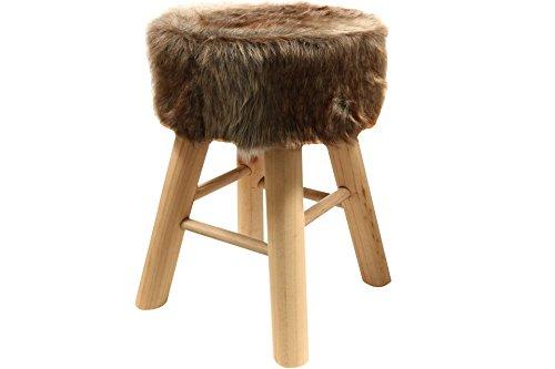 Riyashop vachtkruk kruk kruk kruk shemel voetenkruk hout bont-look stoel vacht