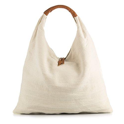 FIRENZE ARTEGIANI Echte leren handtas voor vrouwen shopper handtas van natuurlijk linnen. Shopper tas Made in Italy.Vera Pelle Italiana 55x46x14 cm