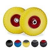 Relaxdays, gelb-rot 2X Sackkarrenrad, pannensichere Vollgummireifen, 3.00-4' Stahlfelge, 20 mm Achse, 100kg, 260 x 85 mm