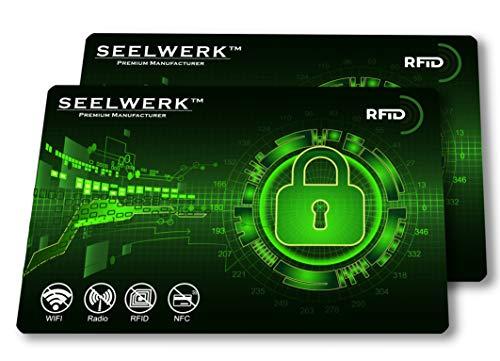 2X RFID Blocker Karte, NFC Blocking Schutzkarten verhindern Auslesen & Datenklau von Kreditkarten, Scheckkarten, Personalausweis & Reisepass. Nie Wieder einzelne Schutzhüllen! (Grün)