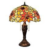 Sala Dormitorio Mesita de luz de la lámpara, Exquisito 40CM del vitral de Tiffany lámpara de Mesa Sun Flower Stained Glass Shade Sala de Estar de la lámpara de la lámpara de Noche