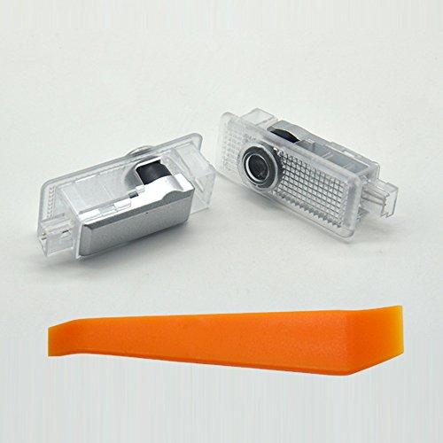 Willkommens Licht, KVCH 1 Paar LED-Höflichkeits-Lichter Einfache Installation Autotür Projektor Logo Geist Schatten-Lichter für BENZ CLA (A-klasse) CLS (W218, X218) mit Tür Polsterungs Entferner
