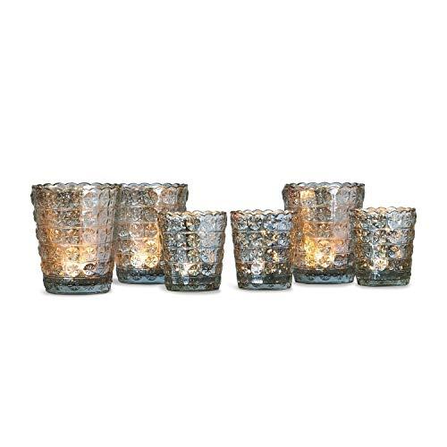 Loberon Windlicht 6er Set Dairine, Glas, H/B/T/Ø ca. 12/10 / 10/10 cm, antiksilber