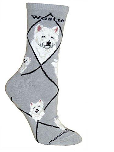 Graue Socken mit West Highland Terrier (Westie) Gr. M, grau