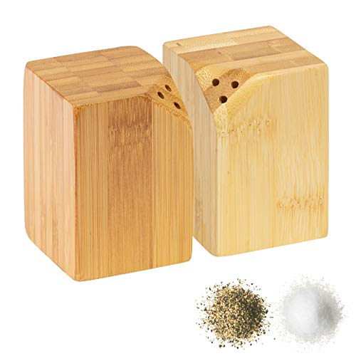 Westmark Salz- und Pfeffer-Streuer-Set, 2-tlg., eckig, magnetisch, Füllvolumen: je 20 ml, Bambus, Tapas + Friends, Hellbraun, 70042270