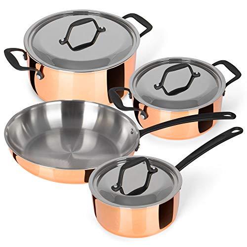 Kochchef Kochtopfset verkupfert inkl. Bratpfanne, 4er-Set | DREI Töpfe, eine Bratpfanne | dreilagiger Materialverbund aus Edelstahl, Aluminium und Kupfer | hohe Energieeffizienz