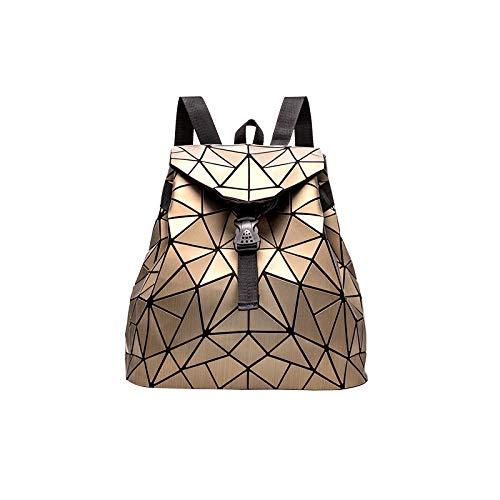 QXbecky Mochila para Mujer, Mochila con cordón Cepillado Mate, Bolsa de Cuadros de PU de Color Puro, Mochila Escolar con Diamantes 35x40x14cm