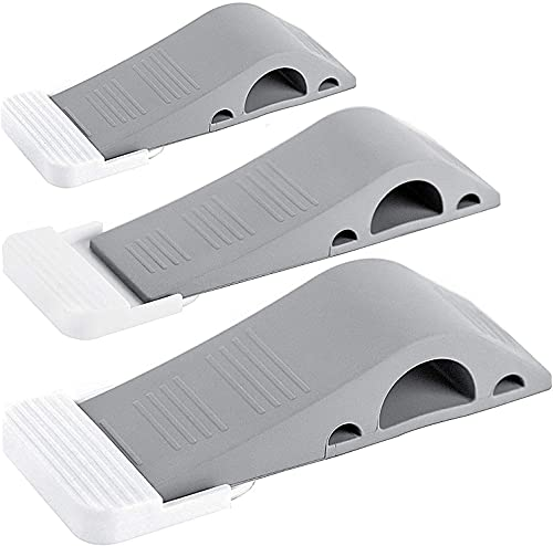 Wundermax Door Stoppers - Rubber Security Wedge for Carpet, Concrete, Tile, Linoleum & Wood - Heavy Duty Door Stop - Home Improvement - 3 Pack -...